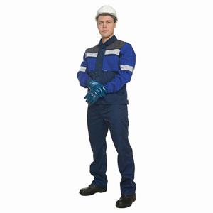 Г0232 Костюм РУДЭН куртка с брюками, темно-синий с васильковой и серой отделкой