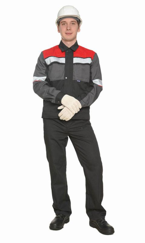 Г0234 Костюм РУДЭН куртка с брюками, черный с серой и красной отделкой
