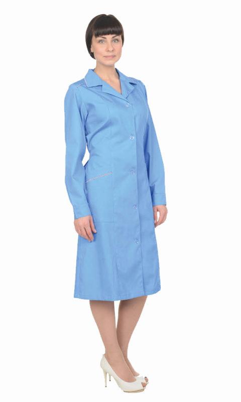 Г0262 Халат РУТА голубой с длинным рукавом, женский