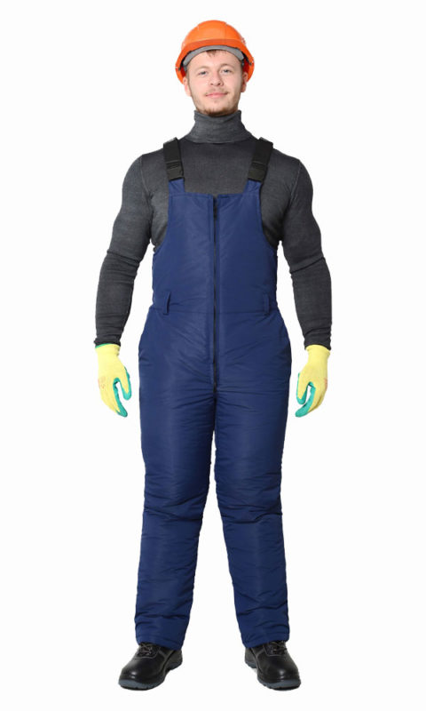 Г0308 Полукомбинезон темно-синий, утепленный