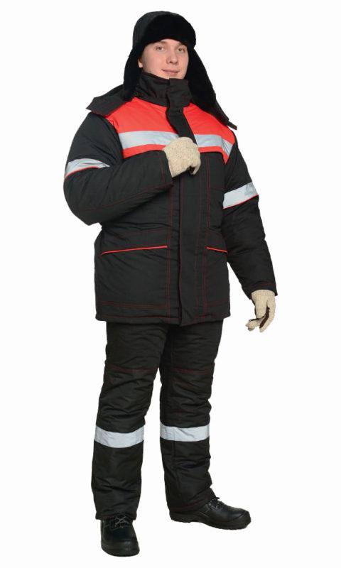 Г0330 Костюм СУРГУТ куртка с полукомбинезоном черный с красной отделкой, антистатика, утепленный