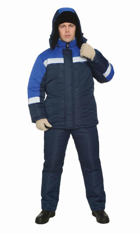 Г0399 Костюм БРИГ куртка с полукомбинезоном синий с васильковой отделкой, утепленный