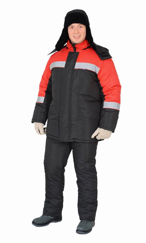Г0400 Костюм БРИГ куртка с полукомбинезоном черный с красной отделкой, утепленный