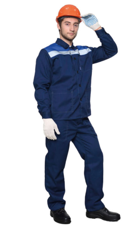 Г217 Костюм ДАМАСК ЛЮКС куртка с брюками, темно-синий с васильковой отделкой