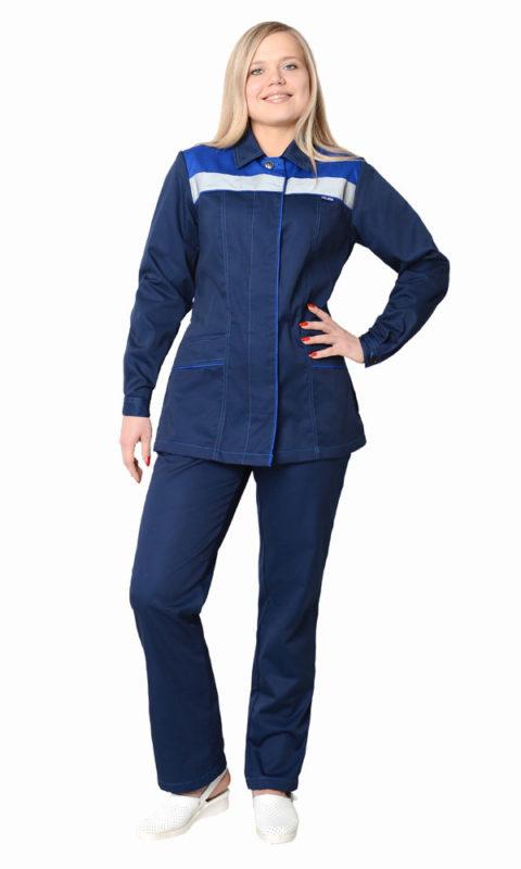 Г225 Костюм УДАРНИЦА куртка с брюками, тёмно-синий с васильковой отделкой, женский, саржа