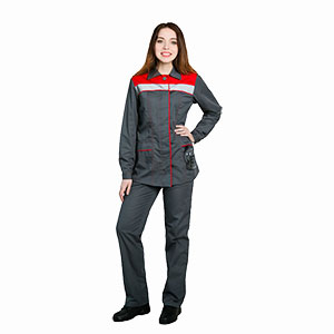Г226 Костюм УДАРНИЦА куртка с брюками, серый с красной отделкой, женский