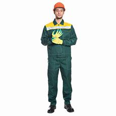 Г280 Костюм ЛИДЕР куртка с брюками, зеленый с желтой отделкой