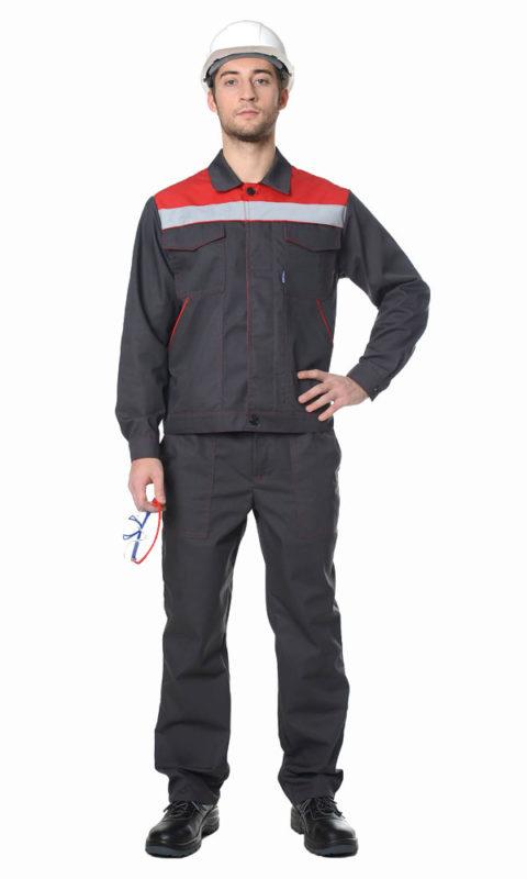 Г281 Костюм ЛИДЕР куртка с брюками, серый с красной отделкой