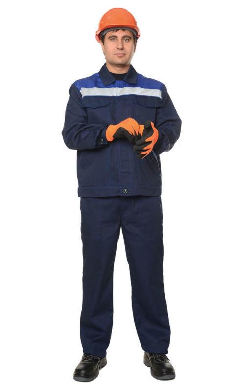 Г282 Костюм ЛИДЕР куртка с брюками, темно-синий с васильковой отделкой