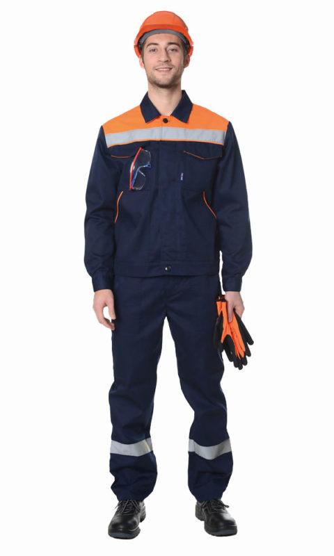 Г283 Костюм ЛИДЕР куртка с брюками, темно-синий с оранжевой отделкой