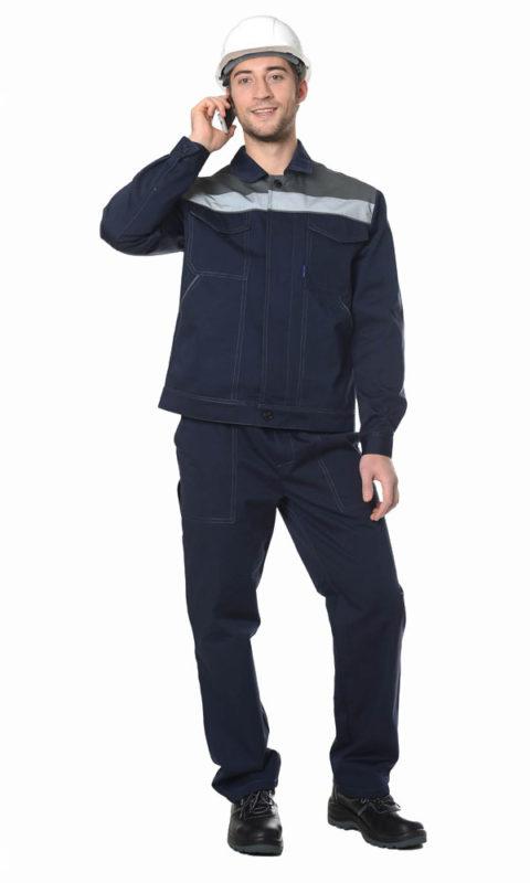 Г284 Костюм ЛИДЕР куртка с брюками, темно-синий с серой отделкой, саржа