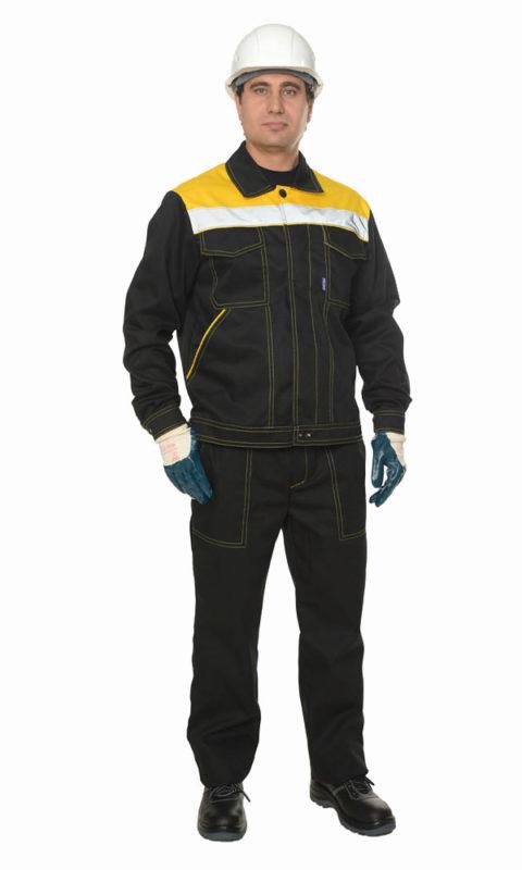 Г285 Костюм ЛИДЕР куртка с брюками, черный с желтой отделкой