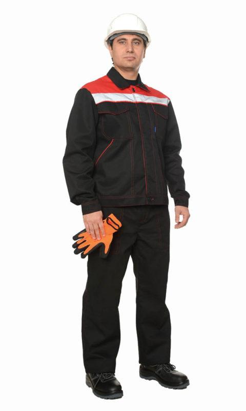 Г286 Костюм ЛИДЕР куртка с брюками, черный с красной отделкой
