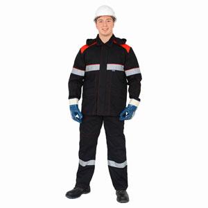 Г294 Костюм АНТИСТАТ куртка с полукомбинезоном черный с красной отделкой