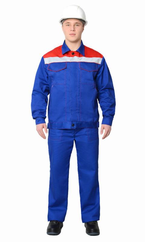 Г296 Костюм ЛИДЕР куртка с брюками, васильковый с красной отделкой