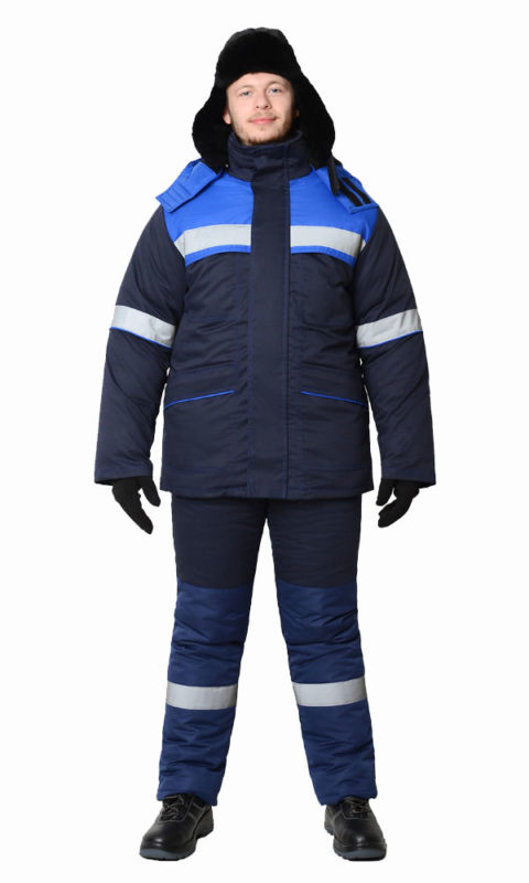 Г301 Костюм СУРГУТ куртка с полукомбинезоном темно-синий с васильковой отделкой, антистатика, утепленный