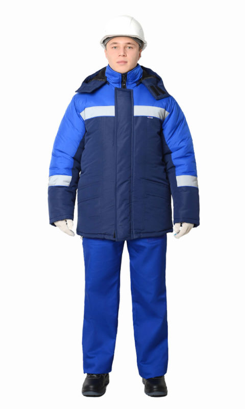 Г310 Куртка БРИГ синяя с васильковой отделкой, утепленная