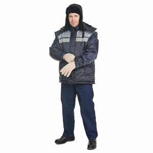 Г314 Куртка АНГАРА темно-синяя с серой отделкой, утепленная