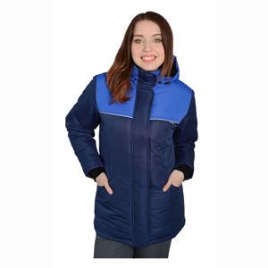 Г315 Куртка СНЕЖИНКА темно-синяя с васильковой отделкой женская, утепленная