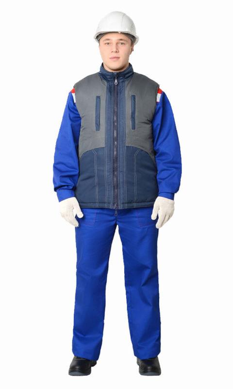Г335 Жилет ИТР тёмно-синий с серым утепленный, мужской