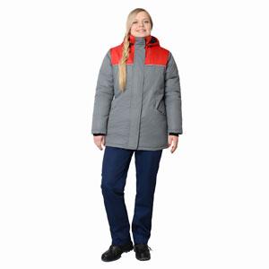 Г337 Куртка СНЕЖИНКА серая с красной отделкой женская, утепленная
