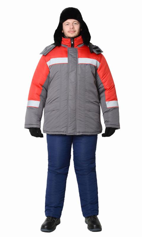Г338 Куртка БРИГ серая с красной отделкой, утепленная