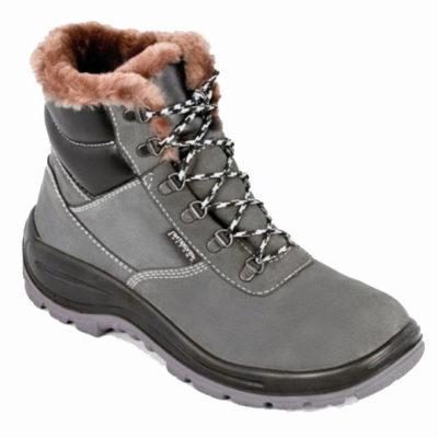 Д134 Ботинки ДЕСМА кожаные с натуральным мехом 304Т (нубук серый)