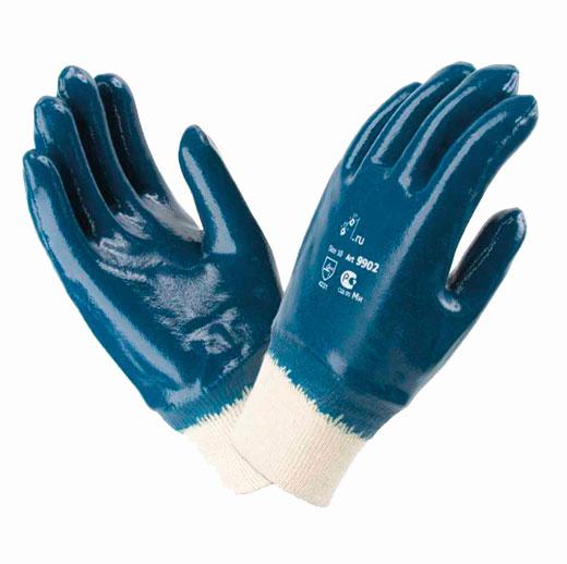 В244 Перчатки 9902 РП с нитриловым покрытием, трикотажный манжет, покрытие полностью