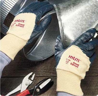 В246 Перчатки ХАЙЛАЙТ 47-400 с легким нитриловым покрытием, трикотажный манжет, покрытие ладони