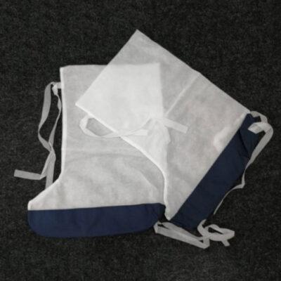 Бахилы одноразовые с двойной подошвой из непромокаемой ткани на лицевой стороне